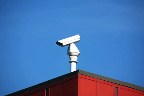CCTV camera on top of office building