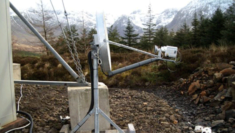 VSAT satellite connection in a rural location